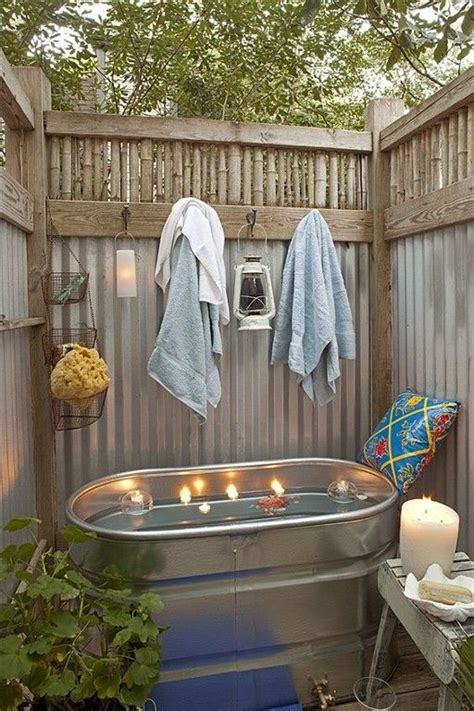 outside tub ideas outside galvanized shower just add rain shower head diy pinterest vacation rentals