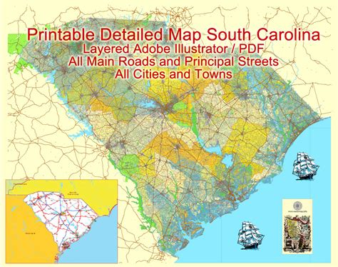 map south carolina printable vector detailed street road
