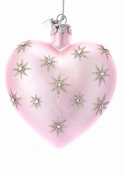 Heart Pink Glass Ornament Stars Silver Noble