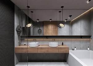 40 idees de salles de bain a double vasques hyper deco With meuble lavabo bois massif 16 un meuble sur mesure pour une salle de bain de 3 m178