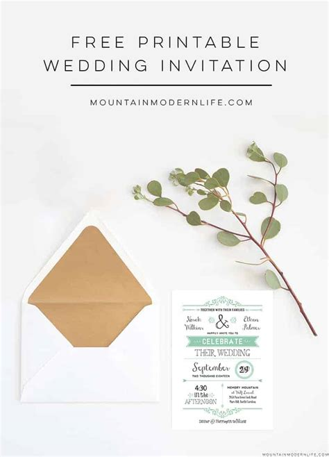 FREE Wedding Invitation Template MountainModernLife com