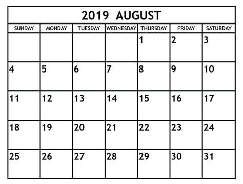 blank august calendar template printable editable format