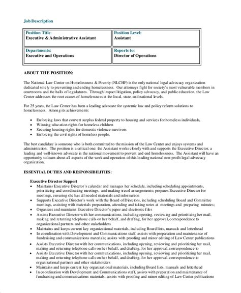 sle administrative assistant description 8