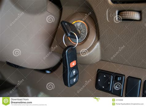 Car Key In Ignition Start Lock Stock Photo