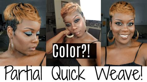 Partial Quick Weave With Color!| Short Hair Tutorial!i
