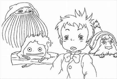 Coloring Pages Moving Castle Howl Totoro Howls