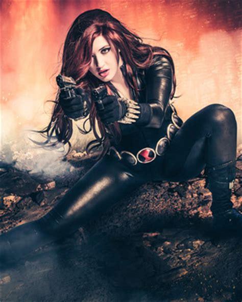 stunning black widow cosplay  callie cosplay geektyrant