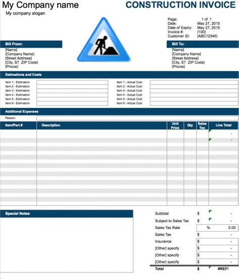 construction invoice template excel invoice