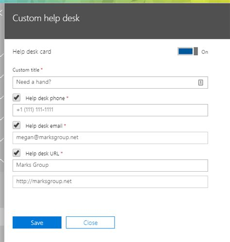 Office 365 Help Desk by Office 365 Add Custom Help Desk Information To Office 365