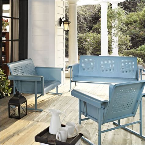 crosley furniture veranda 3 pc glider set caribbean blue