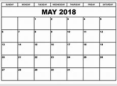 May 2018 Calendar Template calendar for 2019