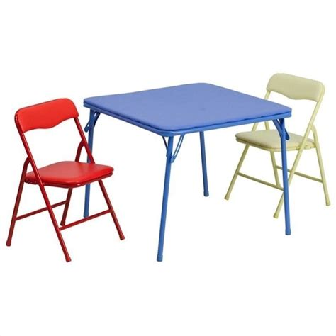 colorful 3 folding dining table and chair set