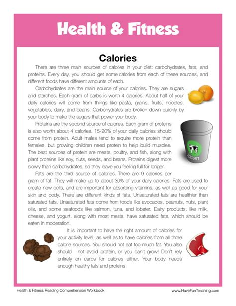 reading comprehension worksheet calories