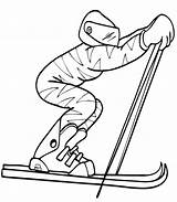Coloring Skiing Pages Olympics Winter Skier Downhill Cross Country Alpine Clipart Ski Colouring Printable Squirrel Noah Ark Cliparts Flying Olympic sketch template