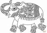 Elephant Coloring Pages Indian Pattern Printable Drawing Zentangle Line Stencil India Elephants Colour Sheets Adult Adults Crafts Animal Ethnic Vector sketch template