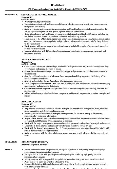 reward analyst resume samples velvet jobs