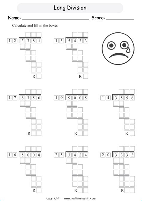 math worksheets grade  long division worksheets