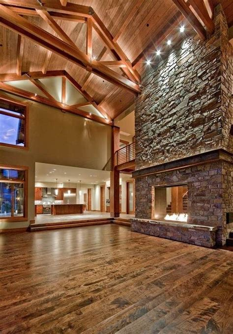 awesome stone fireplace design accent lighting cathedral