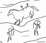 Cave Painting Coloring Coloringcrew sketch template