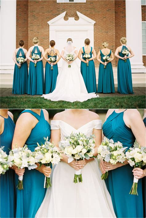 Teal Bridesmaids Dresses With Ivory And Green Wedding