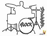 Coloring Drums Musical Instruments Drum Instrument Percussion Drawings Kits Cool Drummer Boys Printables Sheets Bass Drawing Draw Rock Yescoloring Pounding sketch template