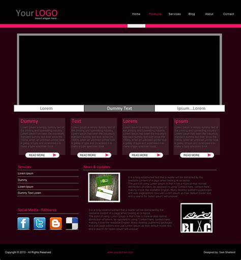 Simple Website Templates Simple Website Template Millions Vectors Stock