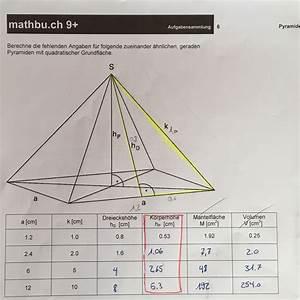 Wie Berechnet Man Die Höhe Eines Dreiecks : wie berechnet man die k rperh he f r eine pyramide mit quadratischer grundfl che mathematik ~ A.2002-acura-tl-radio.info Haus und Dekorationen