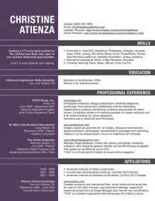 Architect Resume Template by Excellent Sle Resume For Architect In 2016 2017