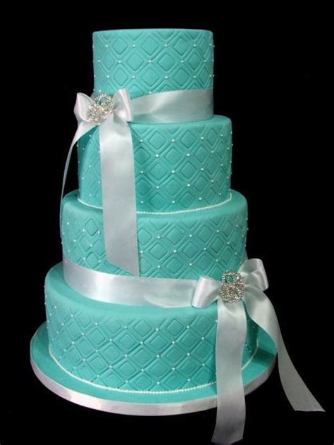 ideas de pasteles de bodas elegantes de color tiffany azul bodas