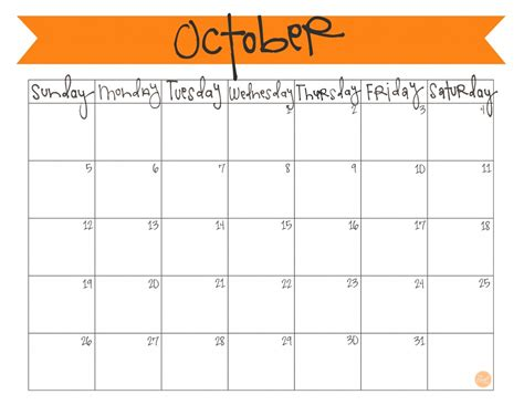 printable october  calendar clipart