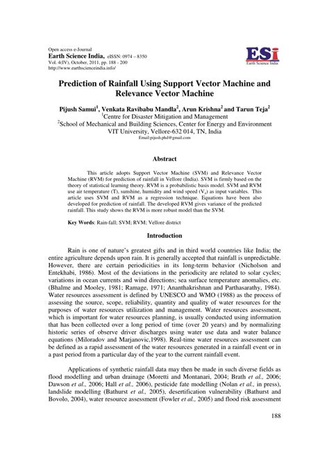 (PDF) Prediction of Rainfall Using Support Vector Machine