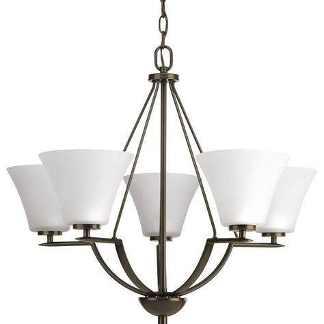chandelier glass shades progress lighting bravo collection 5 light antique bronze