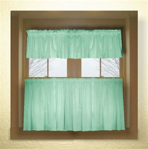 solid mint green colored cafe style curtain includes