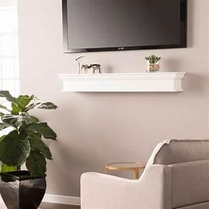 Southern, Enterprises, Arriflair, Floating, Mantel, Wall, Shelf, Traditional, Style, White