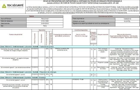 modèle fiche de pénibilité logiciel p 233 nibilit 233 au travail et fiche individuelle d