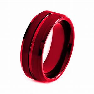 black tungsten ring red men tungsten rings red by giftflavors With red wedding rings for men