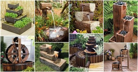 fantastic wooden garden fountains