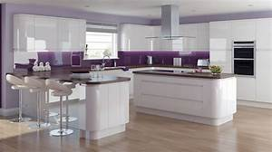 fusion gloss white kitchen modern handle less kitchens With best brand of paint for kitchen cabinets with 3d wall arts