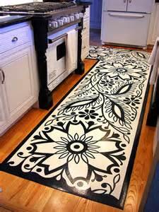 graphic black and white kitchen mat design