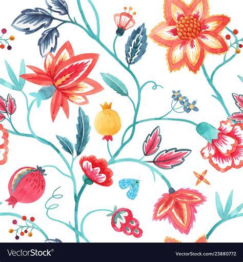 watercolor floral pattern vector image  watercolor