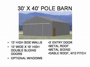 pole barn kit 30 x 40 nomis With 30x30 pole barn plans