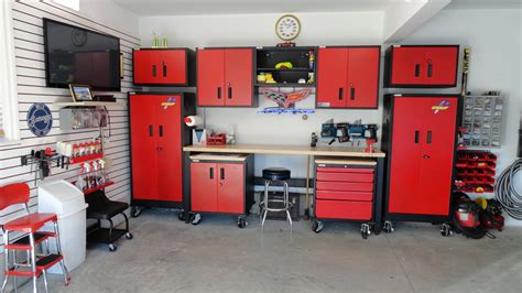 red and black garage cabinets car guy garage red and black metal cabinets