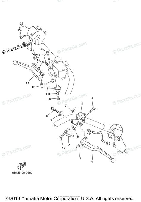 Yamaha Motorcycle Oem Parts Diagram For Handle Switch
