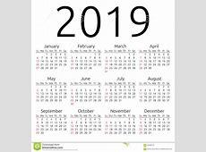 Calendário 2019 Do Vetor, Domingo Ilustração do Vetor