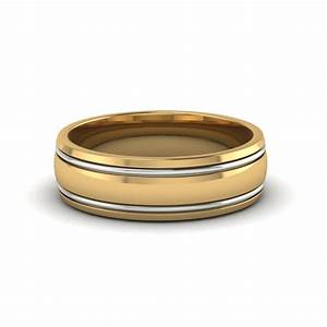 Two Tone Mens Wedding Ring In 14K Yellow Gold