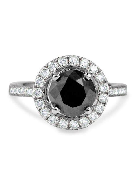 mona unique black halo engagement ring in white gold unique engagement rings nyc
