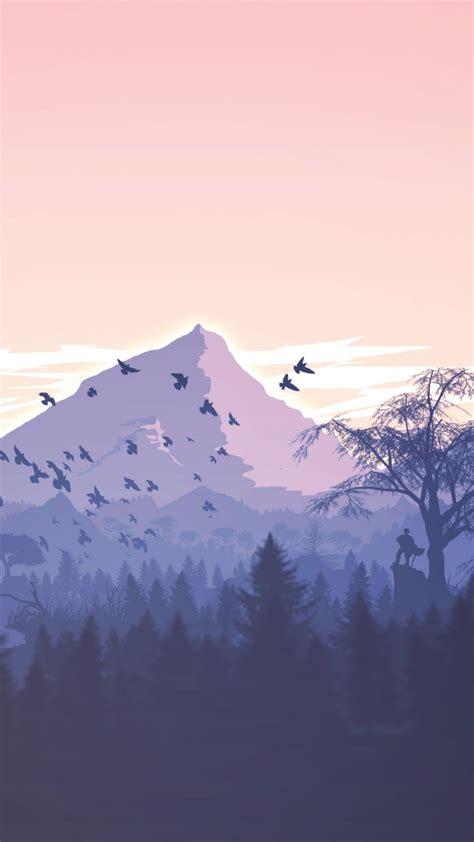 wallpaper forest mountains violet birds art hd art