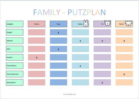 Wochenplan Haushalt Vorlage by Putzplan Vorlage Kinder My Things Putzplan Familien