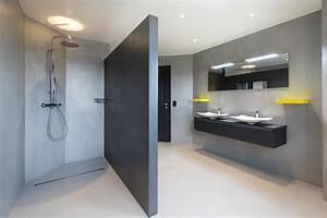 beton cire pour sol salle de bain cuisine mur marius With beton cire mur cuisine
