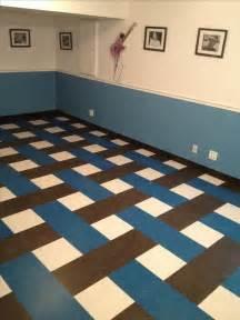 vct vinyl composite tiles in a basket weave pattern it 39 s basement remodel